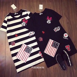 Đầm suông Mickey tag cờ Mỹ tay con  MS: S300646 Gs 140K