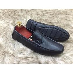 Giày lười da bò khoá đen