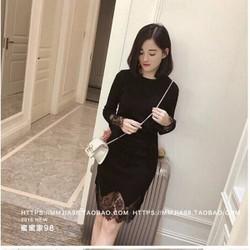 Đầm suông đen phối lai ren DNT552