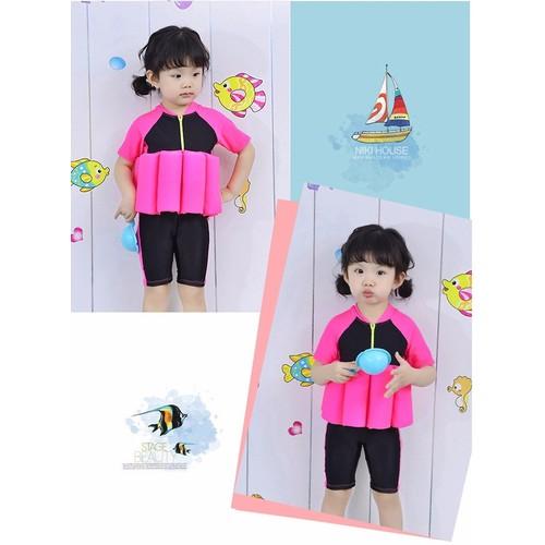 Bộ bơi trợ nổi có tay  màu đen hồng 2 đến 6 tuổi