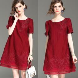 Đầm Suông Họa Tiết Thêu Kết Nổi THƯỢNG CẤP HÀNG NHẬP A2067
