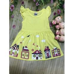 Đầm thun cotton bé gái in hình dễ thương