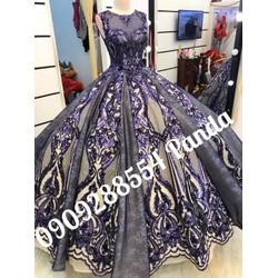 áo cưới tím ren kim sa tùng vi tính phồng luxury