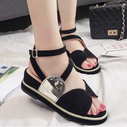 Giày sandal cao gót da nhung kiểu mới màu đen