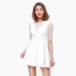 Đầm ren phối lưới công chúa màu trắng