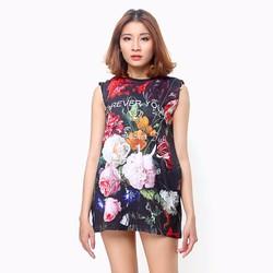Đầm thời trang sát nách họa tiết hoa Forever