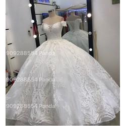 áo cưới trắng ren kimm sa hoa văn cao cấp giá rẻ