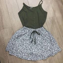 Set áo dây và chân váy hoa QC
