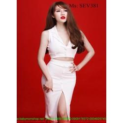 Sét áo kiểu sát nách đính nút và chân váy xẻ đùi sành điệu SEV381