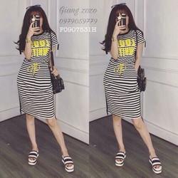 Set áo chữ vàng sọc chân váy hàng nhập-MS: S090717 Gs: 135k