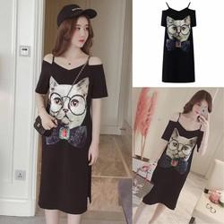 Đầm suông 2 dây trễ vai in hình mèo cao cấp - hàng nhập Quảng Châu