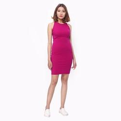 Đầm Body 2 dây cách điệu màu hồng tím