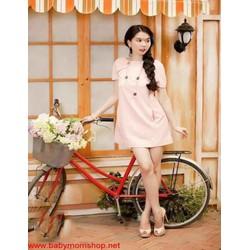 Đầm suông ngắn tay đơn giản màu hồng dễ thương DSV174