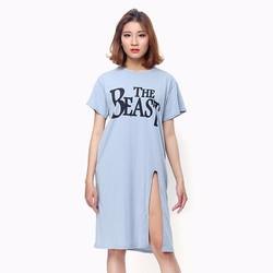 Áo thun nữ oversize form dài màu xanh