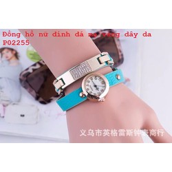 Đồng hồ nữ kiêm vòng đeo tay đính đá Dây Da