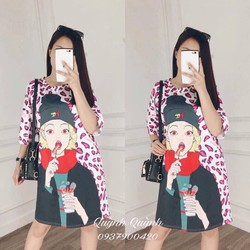 Đầm suông thun hình cô gái