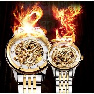 cặp đôi hoàn hảo đồng hồ cơ Rồng 3d nam - Phượng nữ - skt527 thumbnail