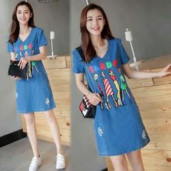 Đầm Jean Suông Four Girls Phối 2 túi Thời trang