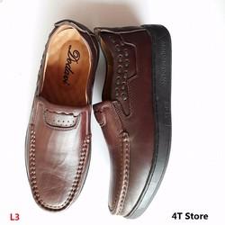 Giày lười nam màu nâu Da bò, Đế cao su