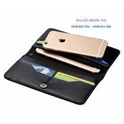 Ví da cầm tay đa năng, đựng điện thoại thẻ và tiền tiện lợi