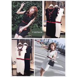 Đầm body len viền cột nơ cổ hàng nhập-MS: S100730 GS: 145K