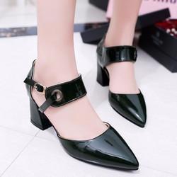 Giày gót vuông nữ phủ Nano cao cấp - LN1285