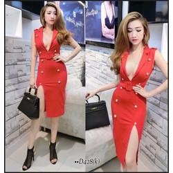 Đầm body vest nút xẻ tà - A30950