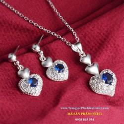 Bộ trang sức nữ hoa tai và dây chuyền nữ cực đẹp, giá rẻ
