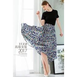 HTD344-SET ÁO THUN CHÂN VÁY VOAN-shop HOA TRANH
