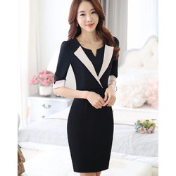 Đầm vest phối màu đẹp