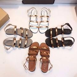 Giày Sandal 3 quai ngang tán vàng