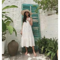 Váy trắng 2 dây pha ren