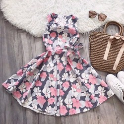 Đầm xòe hoa kaki thun