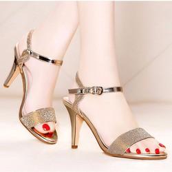 Giày sandal cao gót nữ quai ngang kim tuyến - LN1290