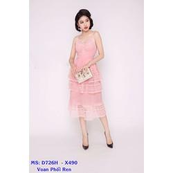 Đầm Voan Maxi 2 Dây Phối Ren