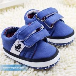 Giày vải tập đi cho bé trai dạng bata màu xanh 0-24M