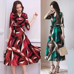 Đầm dài họa tiết thắt eo cao cấp - M,L,XL