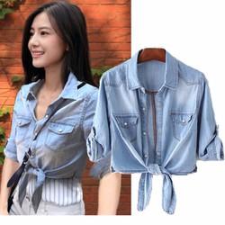 hàng nhập - áo khoác jean nữ croptop A196