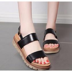 Giày sandal bánh mì 2 quai ngang V13 màu đen