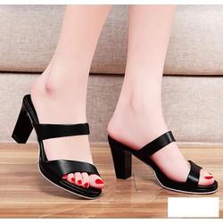 Giày 2 quai chéo đế vuông Finer