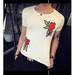 Áo thun body ngắn tay cổ tròn thiêu hoa hồng