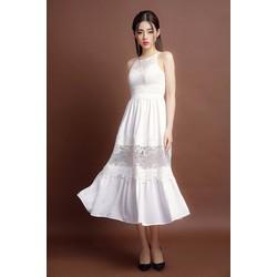 Đầm Maxi Cổ Yếm Voan Phối Ren