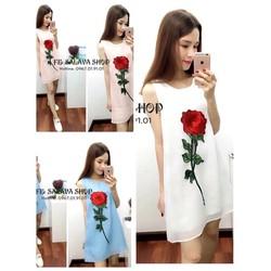 Đầm váy suông hoạ tiết hoa hồng