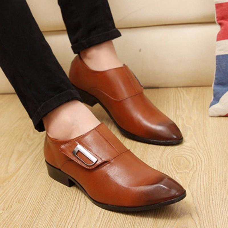 Giày tây thời trang nam chất liệu cao cấp , quai ngang độc đáo 610 4