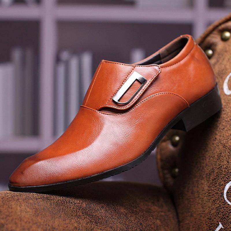 Giày tây thời trang nam chất liệu cao cấp , quai ngang độc đáo 610 7