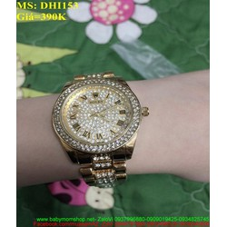 Đồng hồ đeo tay nữ dây inox cao cấp đinh hạt sang trọng DHI153