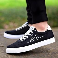 Giày Sneaker nam-Giày vải nam màu đen, giày thể thao nam, giày đẹp rẻ