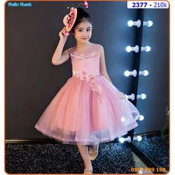 Đầm công chúa đính hoa thêu xinh xắn cho bé
