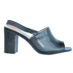 Giày mule cao gót nữ da thật