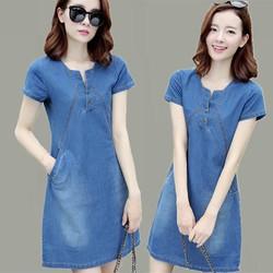 Đầm jean nữ thời trang cổ V sâu phối túi 2